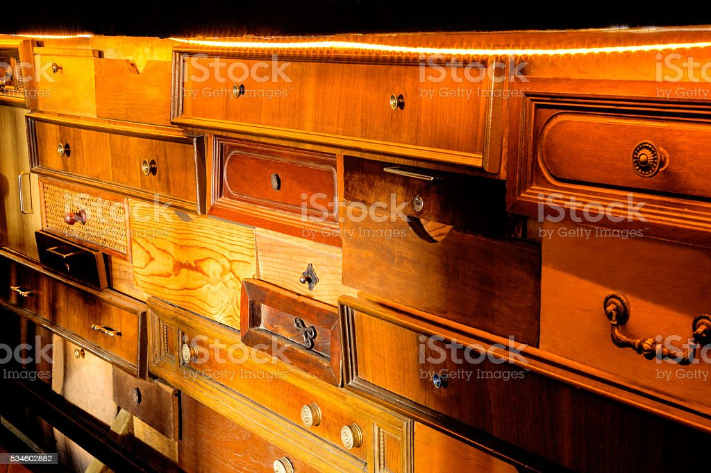 furniture made up of old wooden crates stock photo