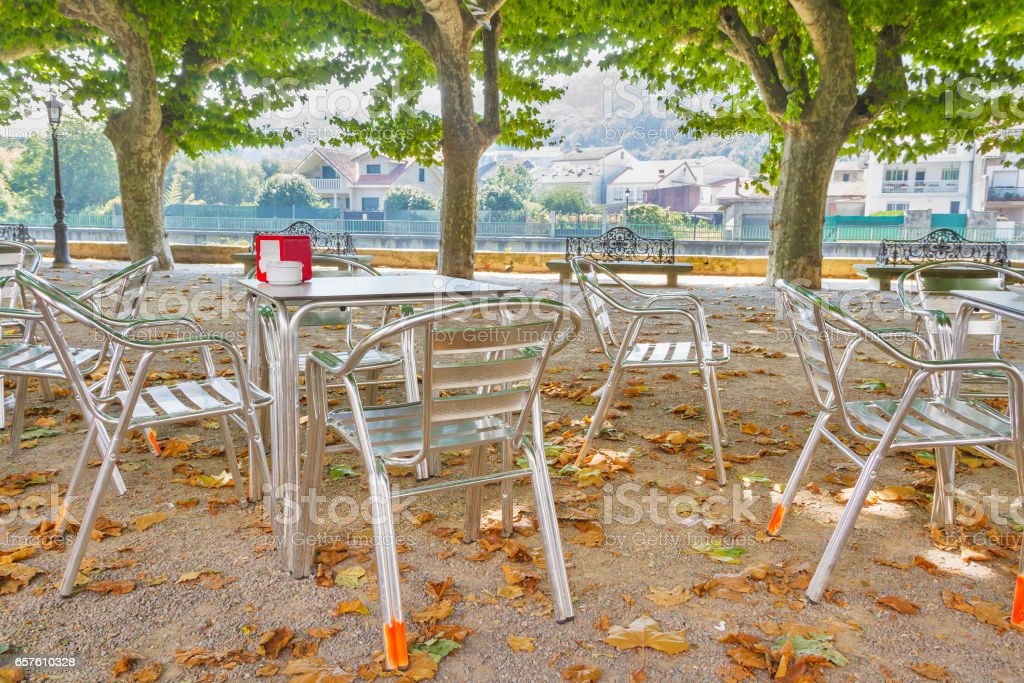 Furniture of terrace coffee on Espolon park royalty-free stock photo