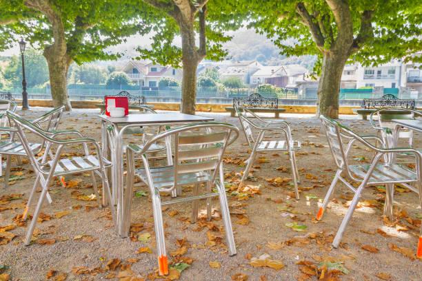 Furniture of terrace coffee on Espolon park stock photo
