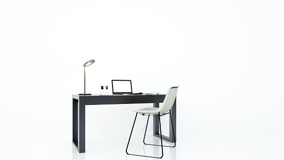 furniture office 3d rendering and background white decoration