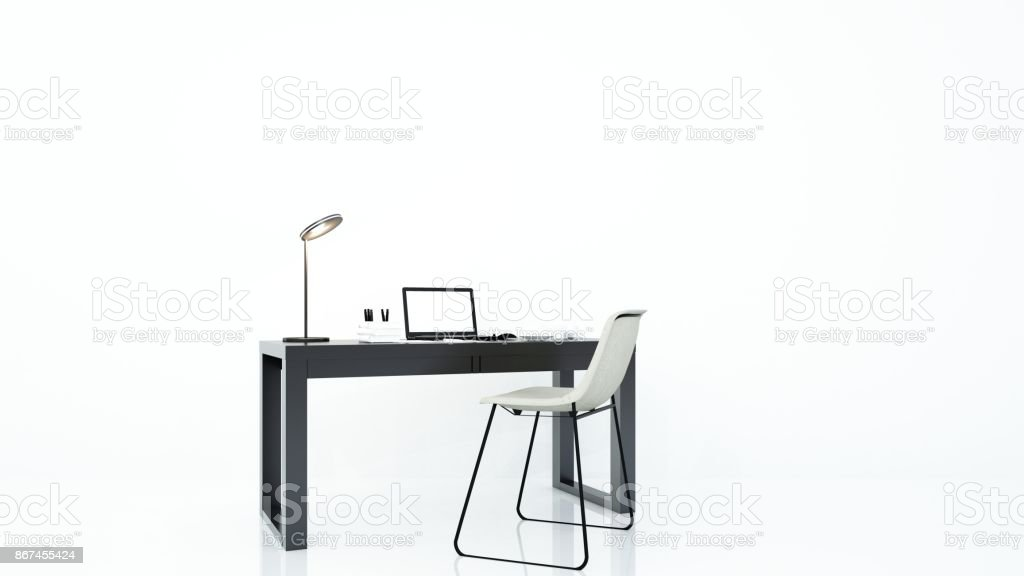 furniture office 3d rendering and background white decoration stock photo