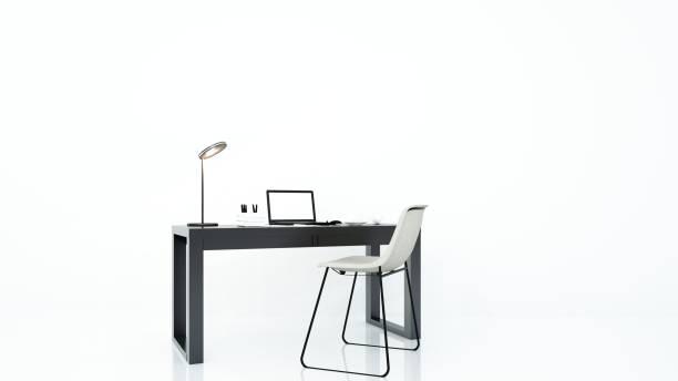 furniture office 3d rendering and background white decoration - secretária mobília imagens e fotografias de stock