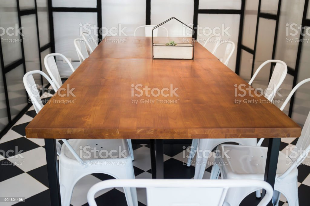 Furniture set in hipster meeting room stock photo