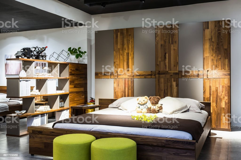 Furniture show bedroom, double bed stock photo