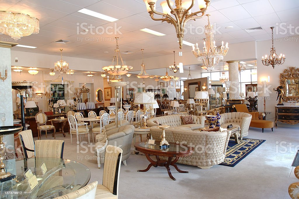 Furniture store displaying fine antique furniture for sale stock photo