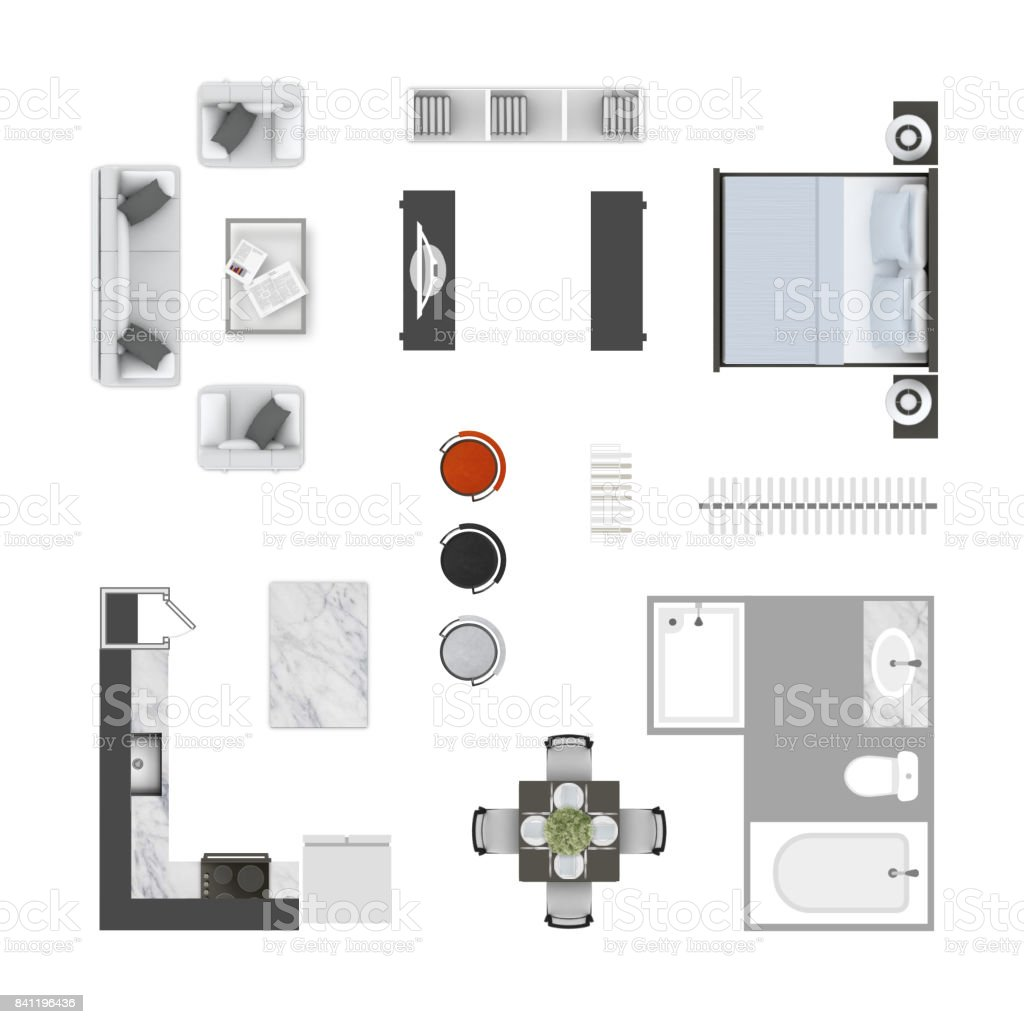 Furniture top view icons collection. Living room sofa, armchair and a coffee table floor plan design elements, kitchen, dinner table, bar stools, bed, clothing rack, bathroom w bath tube and a shower. stock photo