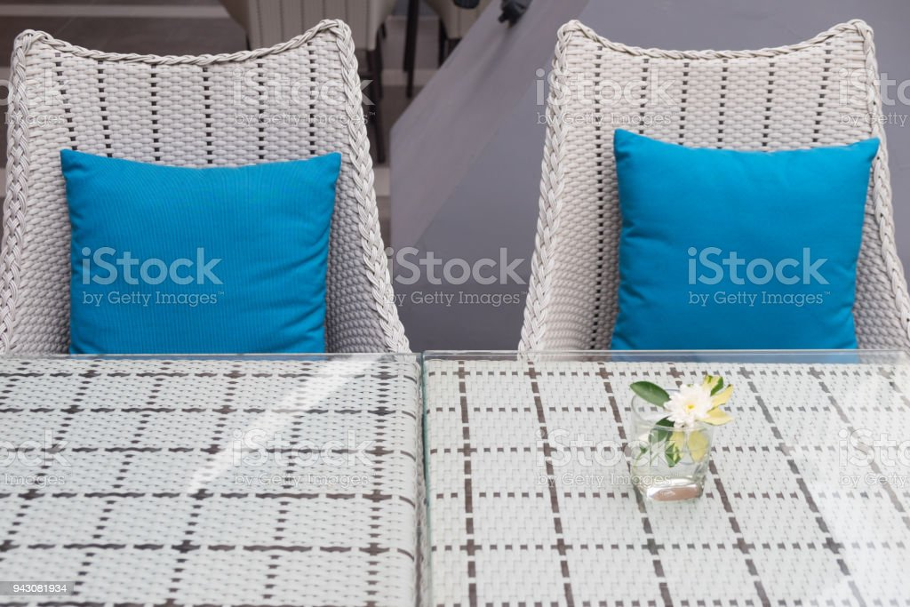 Furniture with blue pillow decoration in home