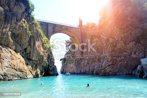 Furore fiord (Fiordo di Furore) a fascinating geological features on the Amalfi Coast, Italy