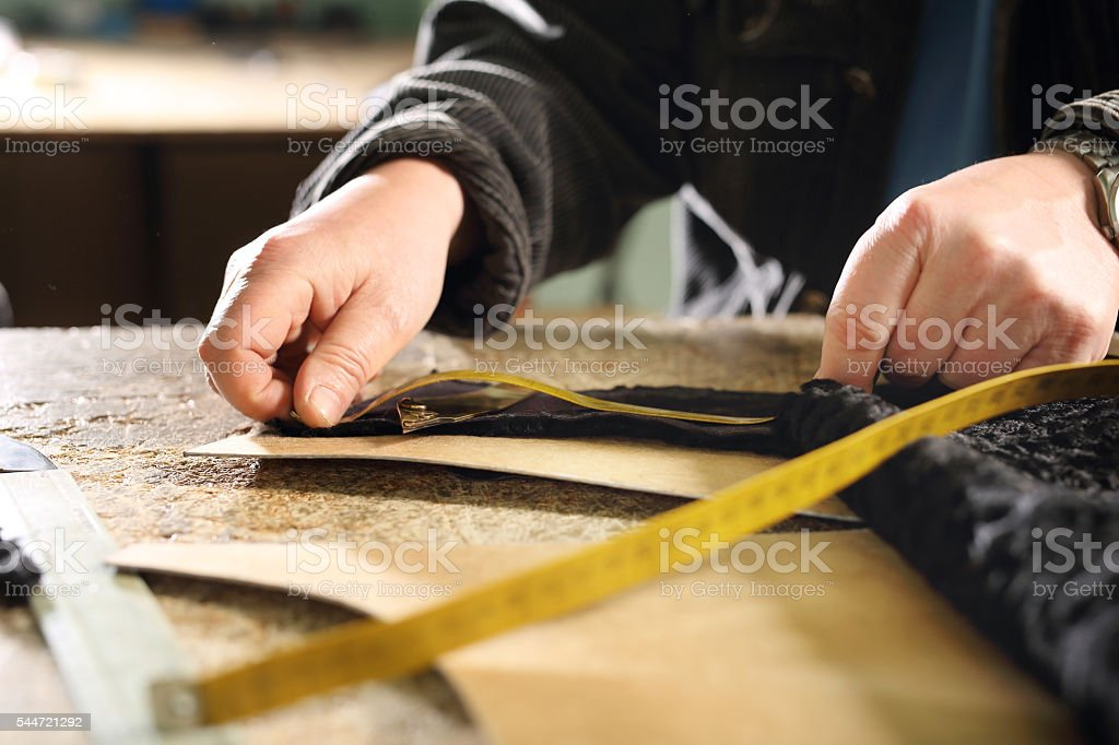 Furrier cut leather stock photo