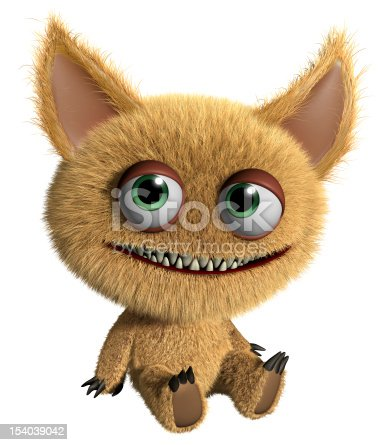 istock A furry cartoon gremlin on a white background 154039042