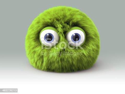 istock Furry green cartoon spherical monster character 463226213