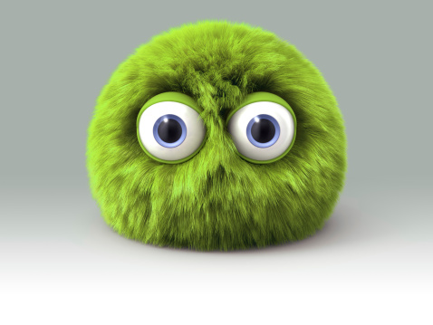 Furry green cartoon spherical monster character. Digitally generated 3D image. Isoilated on gradient background which can be easily expanded.