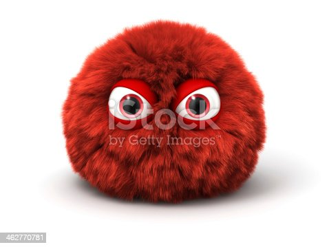 Furry red angry monster. Cartoon spherical character..Digitally generated 3D image. Isoilated on white background.