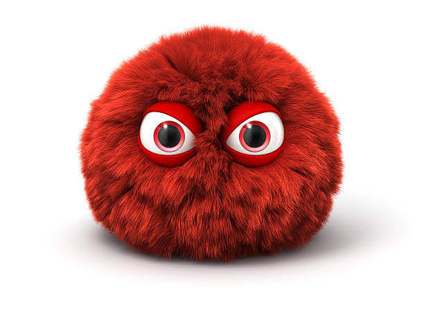 Furry red angry monster isolated on white stock photo