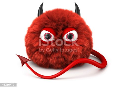 istock Furry red devil with tail and horns isolated on white 462867721