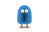 3D Blue Furry Bird Character On White Background