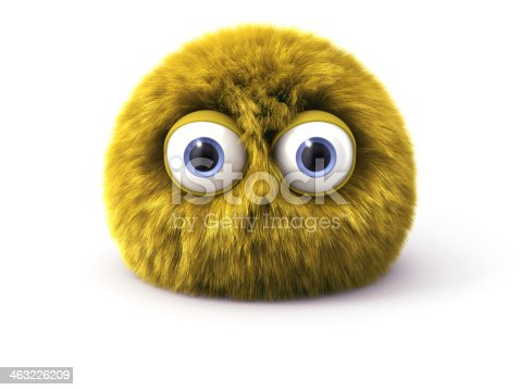 istock Furry yellow cartoon spherical character isolated on white 463226209