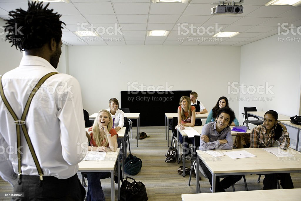 further education: a teacher's point of view addressing his class royalty-free stock photo
