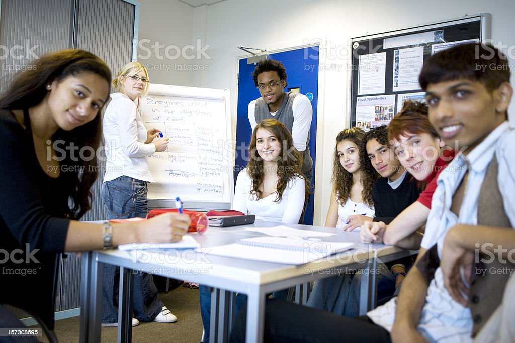 further education: bright smiles from a diverse group of classmates royalty-free stock photo