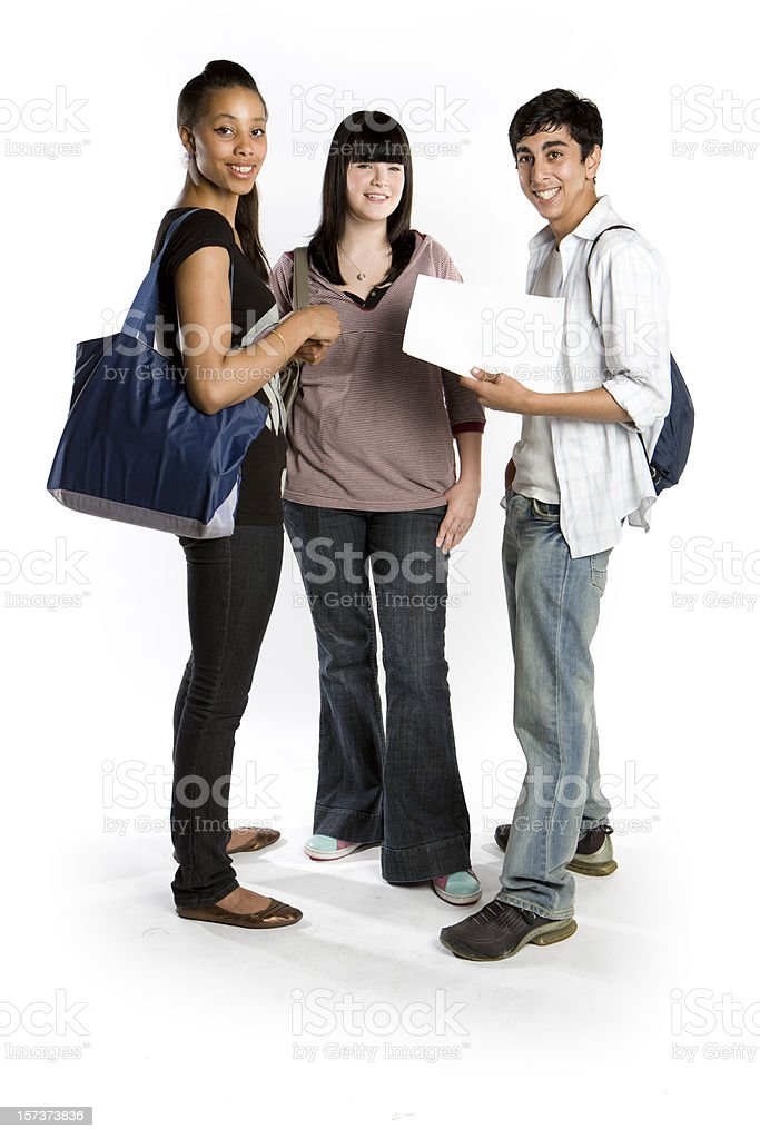 further education: bright smiles from a group of school friends stock photo