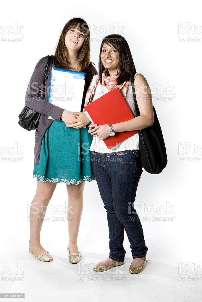 further education: casually dressed teenage female school friends royalty-free stock photo
