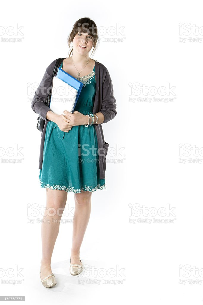further education: full length confident smiling student ready for class royalty-free stock photo