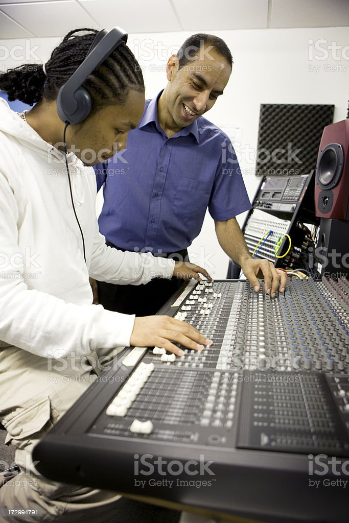 further education: mixing desk stock photo