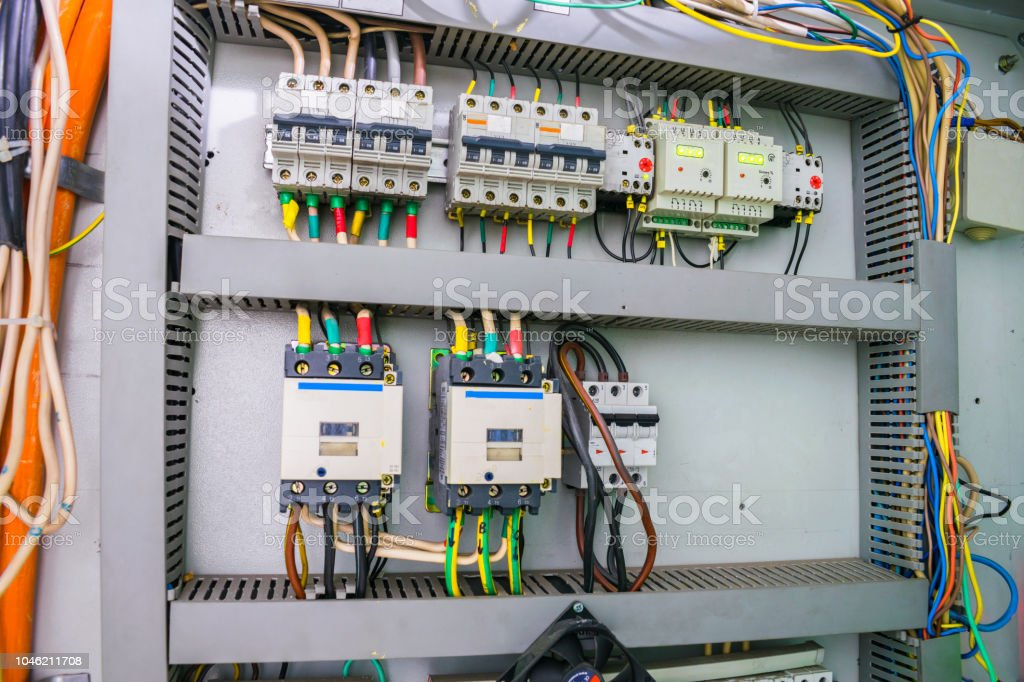 fuse box with an electric relay and automatic machines  electric board and  high voltage switches