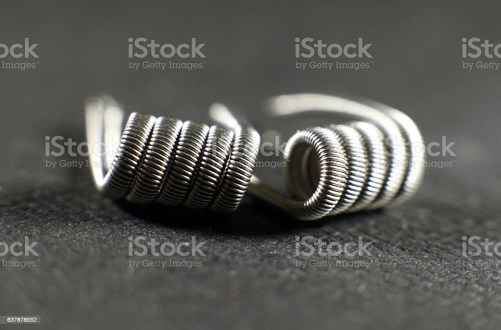 Fused clapton coil build for vaping rebuildable atomizer stock photo