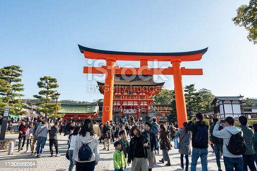Kyoto, Japan - December 2, 2018 : Tourist at the Fushimi Inari Taisha in Fushimi-ku, Kyoto, Japan. Famous place and well known for the thousands of torii lining the paths on the hill.