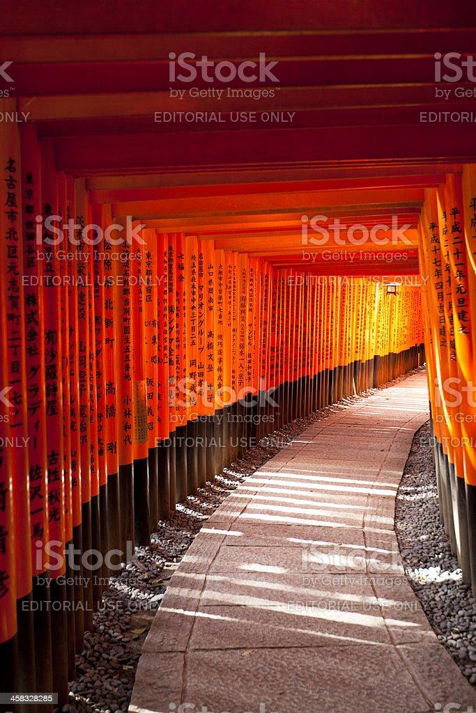 fushimi inari taisha toriis, kyoto, japan royalty-free stock photo