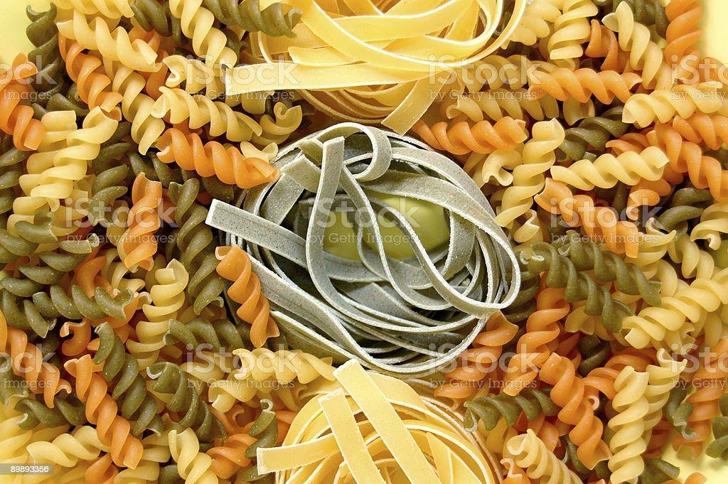fusilli and tagliatelle pasta royalty-free stock photo