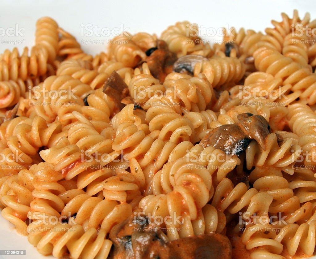 Fusilli & Fungi Pasta royalty-free stock photo
