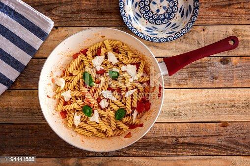 fusilli in tomato sauce with mozzarella