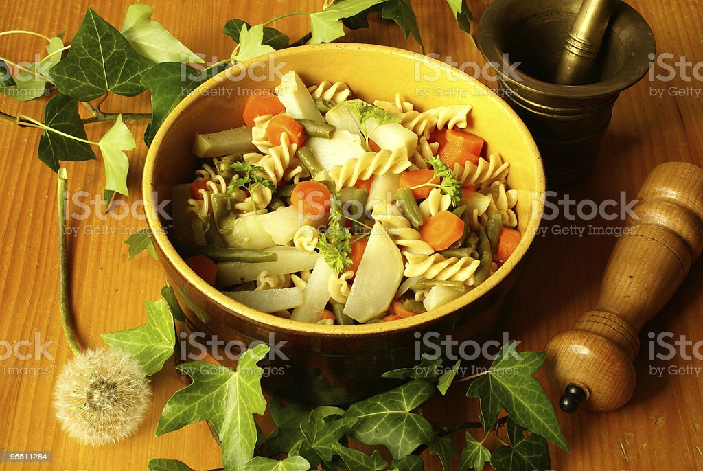 Fusilli with vegetables royalty-free stock photo