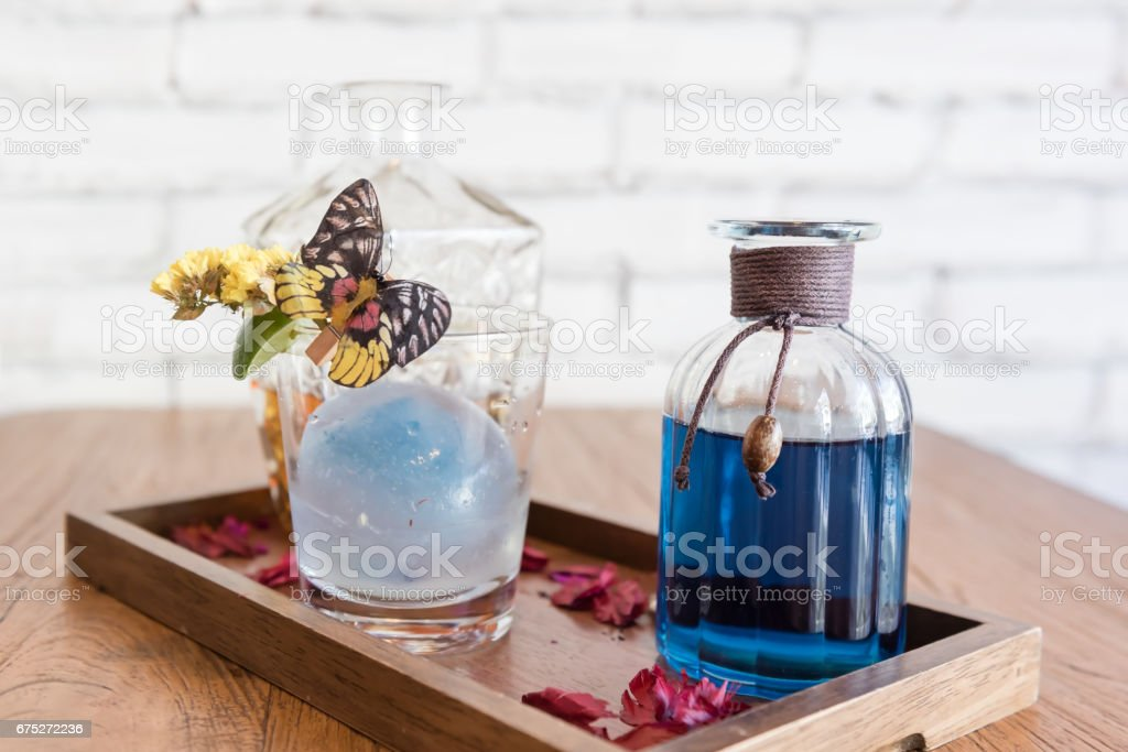 fusion butterfly pea juice with tea mixer stock photo