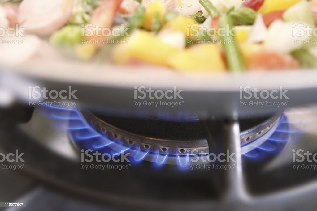 Fusion cooking with natural gas stock photo