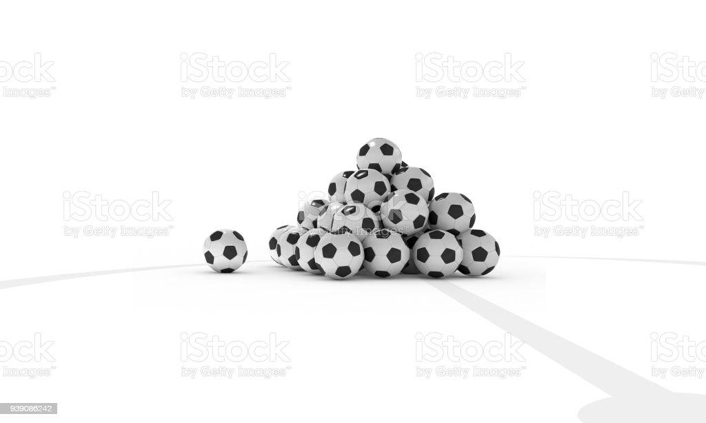 Fussballe Gestappelt Auf Weissen Fussballfeld Stock Photo