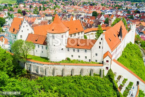 Hohes Schloss Fussen or Gothic High Castle of the Bishops aerial panoramic view, Germany. Hohes Schloss lies on a hill above Fuessen old town in Swabia.