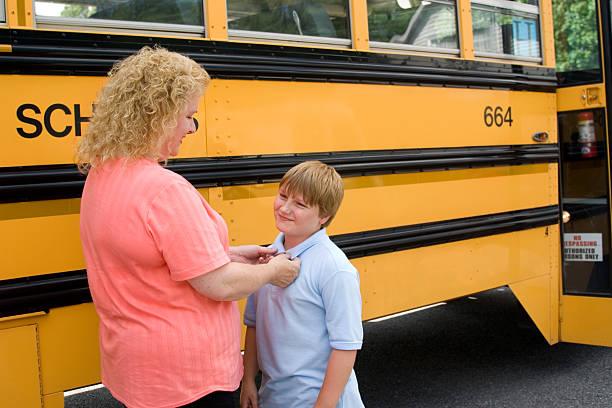 Fussy Mom Before School stock photo