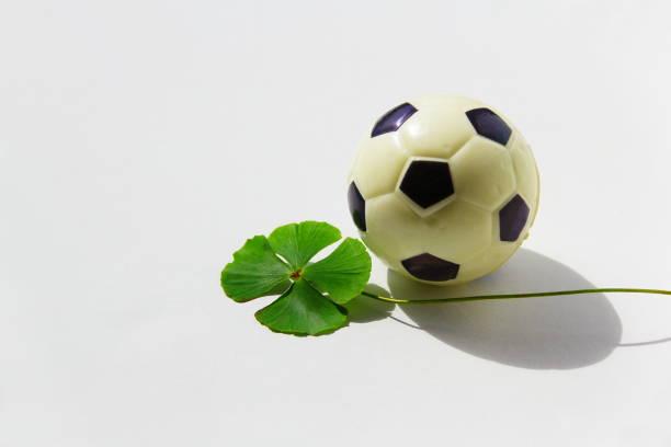 Futebol e boa sorte. Bola de futebol e trevo de quatro folhas  sobre superfície branca com sombra de luz solar. futebol stock pictures, royalty-free photos & images