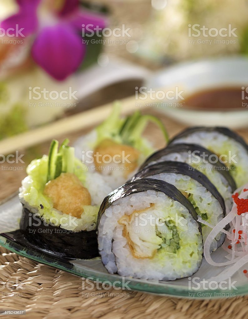 Futomaki with halibut royalty-free stock photo