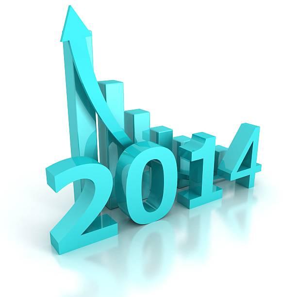 zukünftige 2014 erfolg mit steigenden pfeil diagramm bar - bundeshaushalt 2014 stock-fotos und bilder