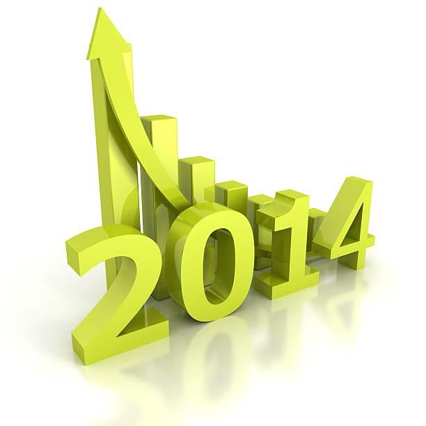 zukünftige 2014 jahr erfolg mit steigenden pfeil diagramm bar - bundeshaushalt 2014 stock-fotos und bilder