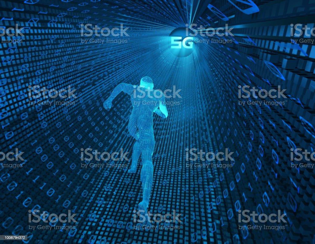 Future 5G à haut débit, réseaux de communication, des technologies futures, intelligence artificielle - Photo