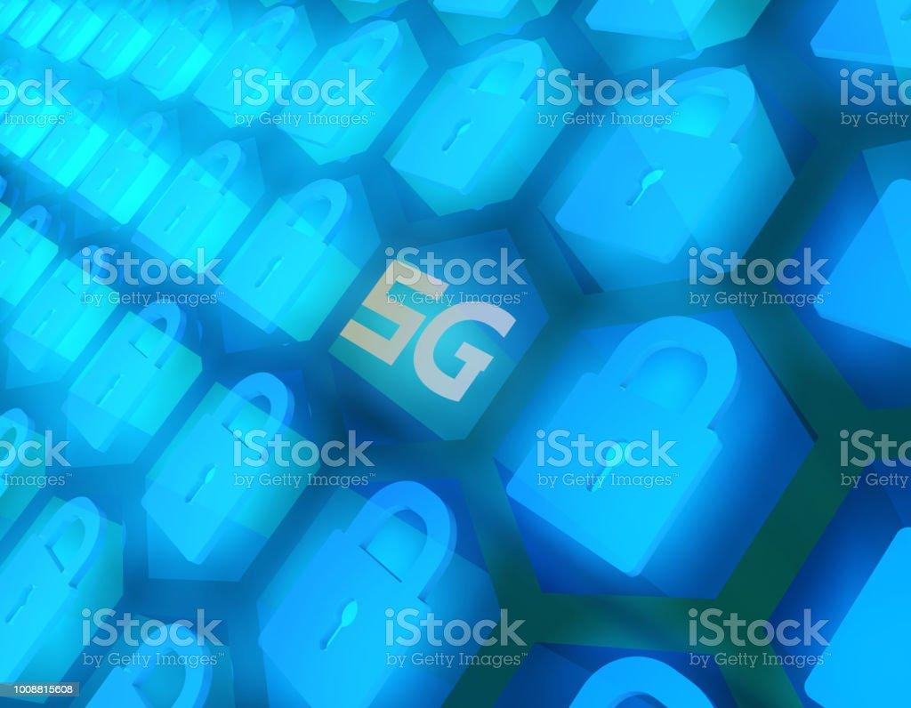Future 5G à haut débit, réseaux de communication, des technologies futures, serrure - Photo