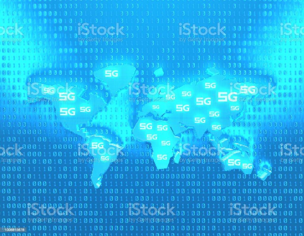 Future 5G à haut débit, réseaux de communication, des technologies futures, carte du monde - Photo