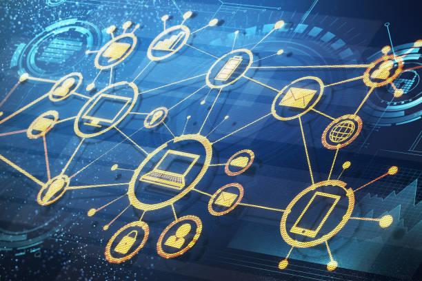 Zukünftige und Netzwerk-Konzept – Foto