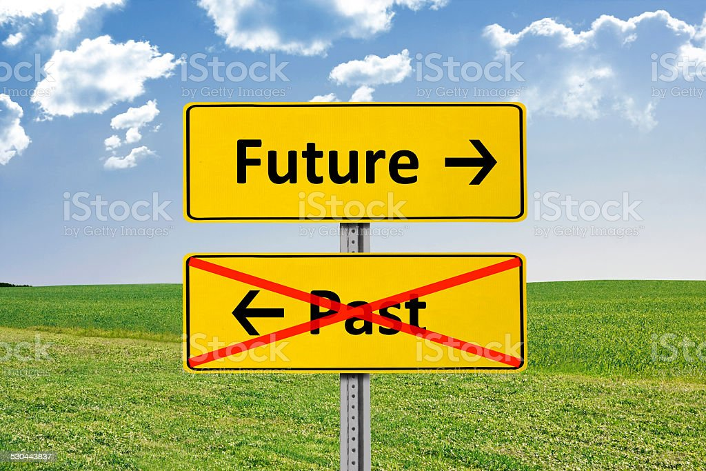 Future and Past Road Sign stock photo