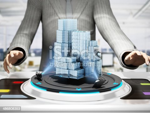 Complex 3D building hologram on the future-tech halography device controlled by a man in business suit. Future-tech architecture and construction concept. CGI character design.